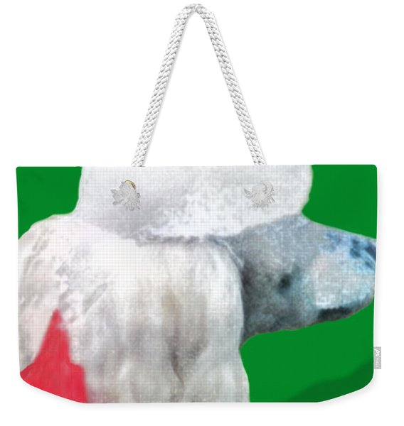Weekender Tote Bag featuring the painting Toy Poodle Louie In His Red Sweater by Marian Cates