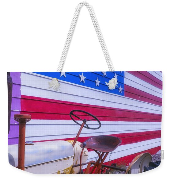 Tractor And Large Flag Weekender Tote Bag