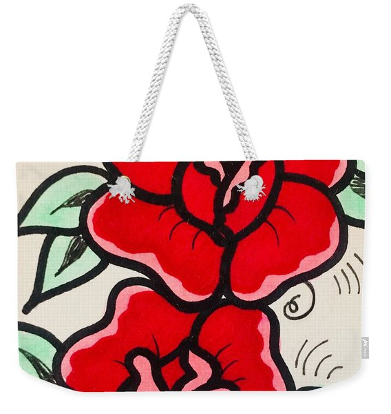 Traditional Rose Weekender Tote Bag