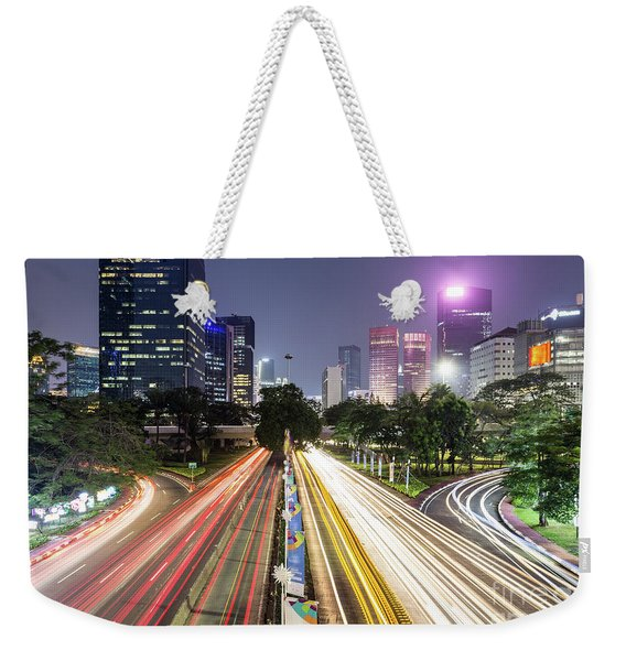 Traffic Night Rush In Jakarta, Indonesia Capital City.  Weekender Tote Bag