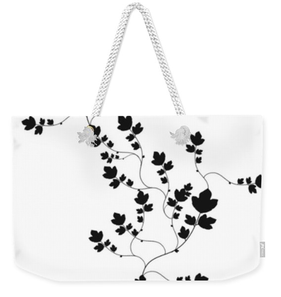 Weekender Tote Bag featuring the drawing Trailing Leaves by Writermore Arts