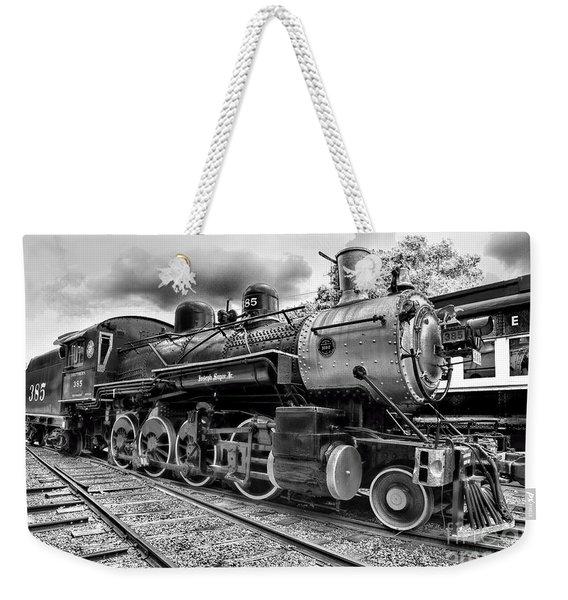 Train - Steam Engine Locomotive 385 In Black And White Weekender Tote Bag