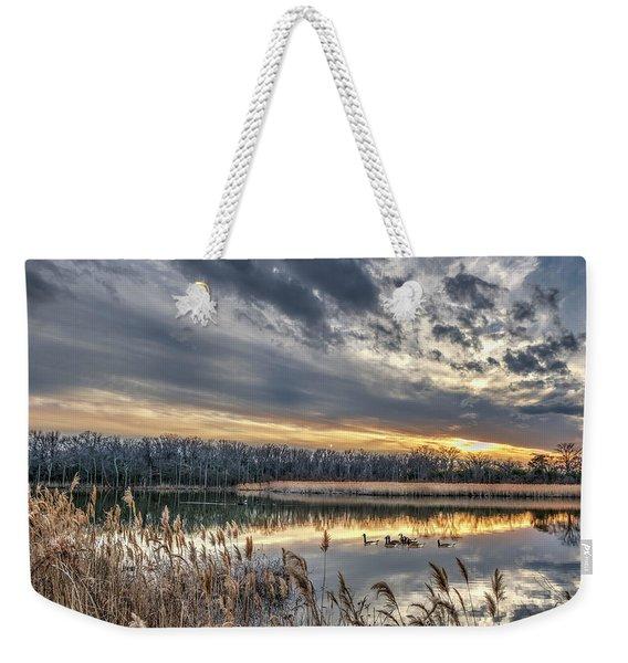 Tranquil Chesapeake Bay Pond During Winter At Sunset Weekender Tote Bag