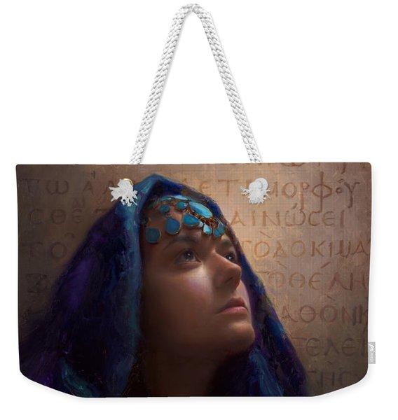 Transformation - Woman With Romans 12 2 Written In Original Greek  Weekender Tote Bag