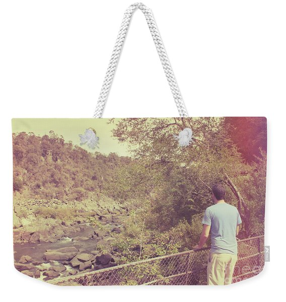 Traveling Person Enjoying Cataract Gorge Walk Weekender Tote Bag