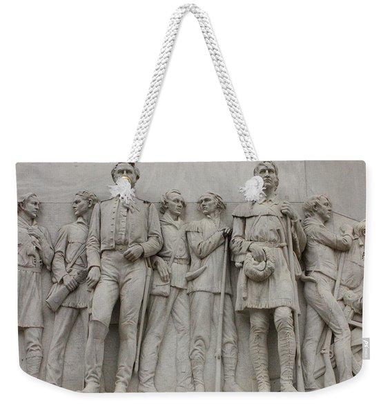 Travis And Crockett On Alamo Monument Weekender Tote Bag