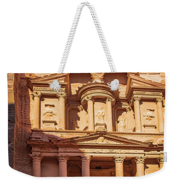 Weekender Tote Bag featuring the photograph Treasury Of Petra In Color by Mae Wertz