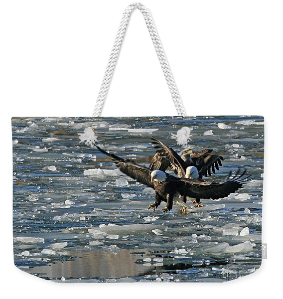 Tree Eagles On Ice Weekender Tote Bag