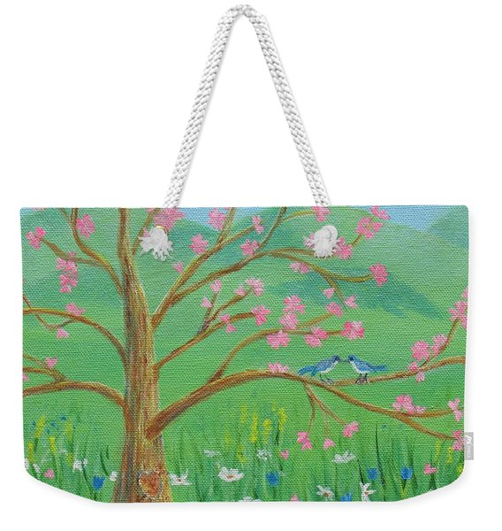 Weekender Tote Bag featuring the painting Tree For Two by Nancy Nale