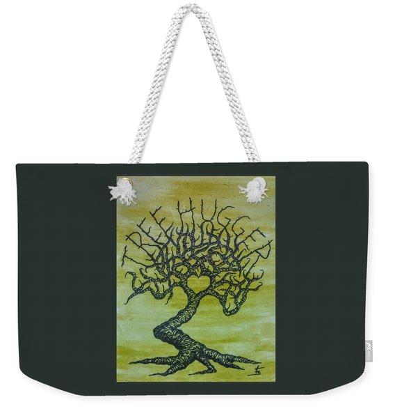 Weekender Tote Bag featuring the drawing Tree Hugger Love Tree by Aaron Bombalicki