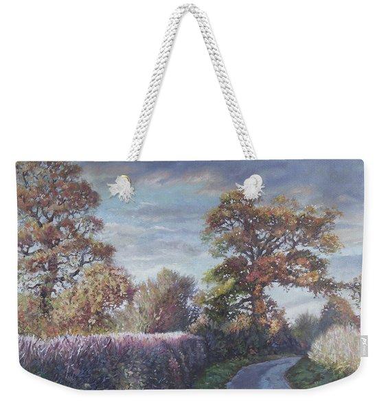 Tree Lined Countryside Road Weekender Tote Bag