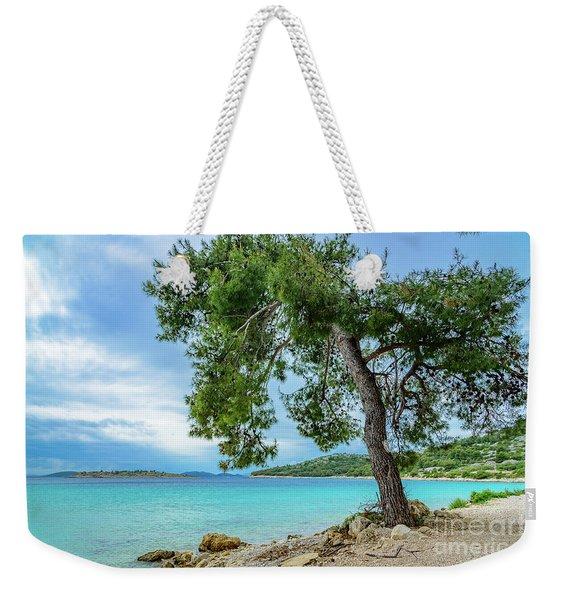 Tree On Northern Dalmatian Coast Beach, Croatia Weekender Tote Bag