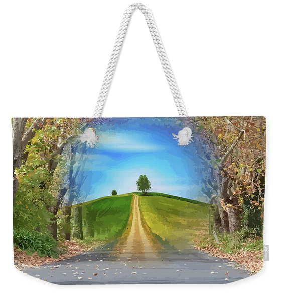 Tree On The Hill Montage Weekender Tote Bag