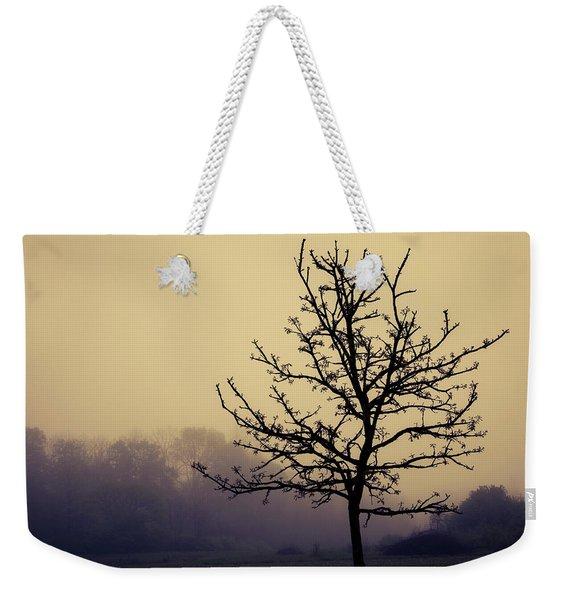Tree Silhouette On A Foggy Morn Weekender Tote Bag