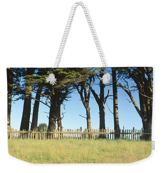 Trees And Wooden Fence, Mendocino Weekender Tote Bag