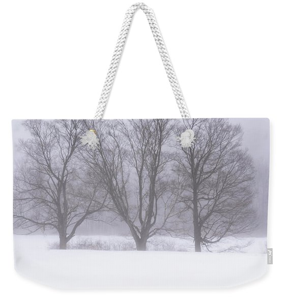 Trees In Fog Weekender Tote Bag