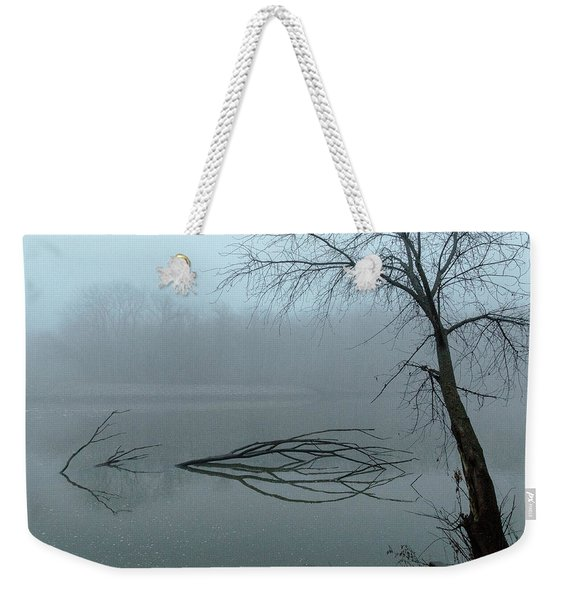 Trees In The Fog On The River Weekender Tote Bag