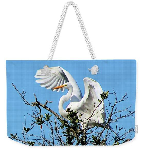 Treetop Egret Weekender Tote Bag