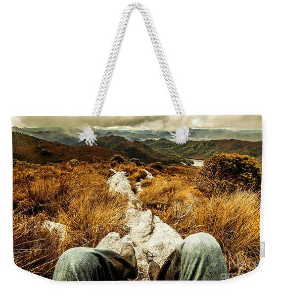 Trekking Tasmanian Mountains Weekender Tote Bag