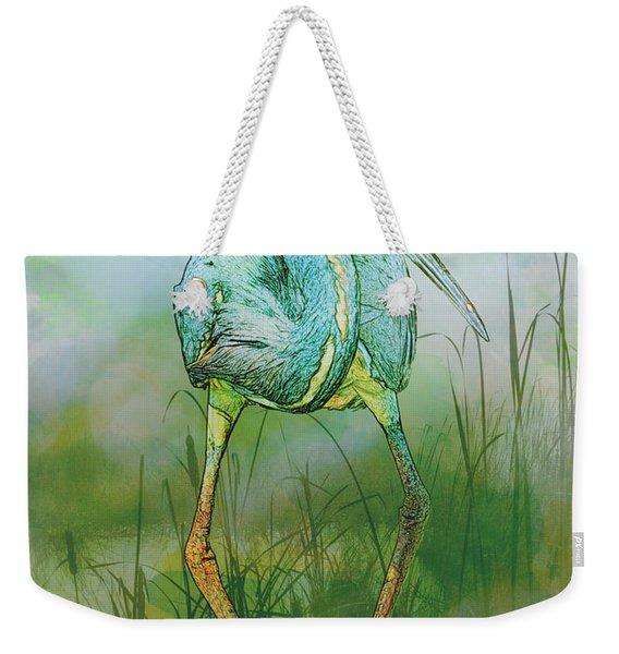 Tri-colored Heron Balancing Act - Colorized Weekender Tote Bag