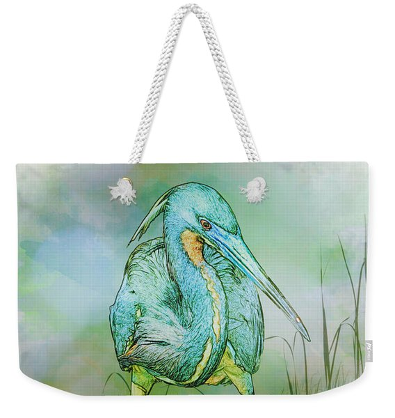 Tri-colored Heron Balancing Act - Colorized Weekender Tote Bag