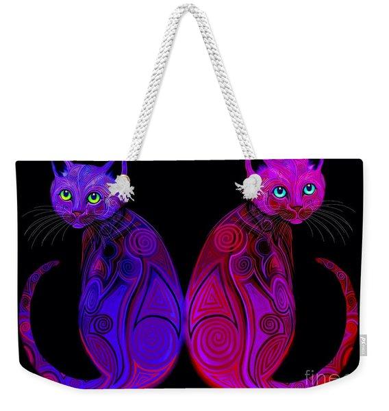 Tribal Cats Weekender Tote Bag