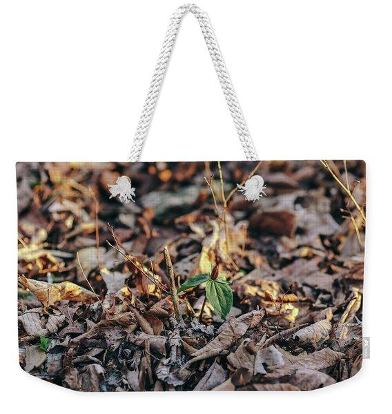 Trillium Blooming In Leaves On Forrest Floor Weekender Tote Bag