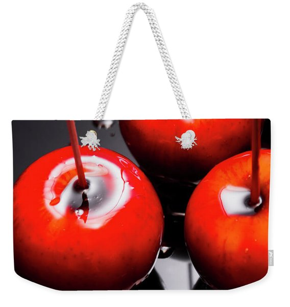 Trio Of Bright Red Home Made Candy Apples Weekender Tote Bag