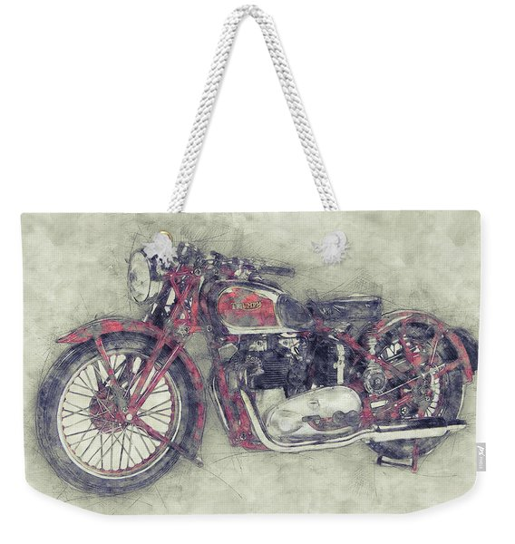 Triumph Speed Twin 1 - 1937 - Vintage Motorcycle Poster - Automotive Art Weekender Tote Bag