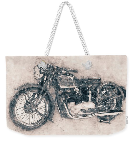 Triumph Speed Twin - 1937 - Vintage Motorcycle Poster - Automotive Art Weekender Tote Bag