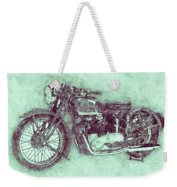 Triumph Speed Twin 3 - 1937 - Vintage Motorcycle Poster - Automotive Art Weekender Tote Bag