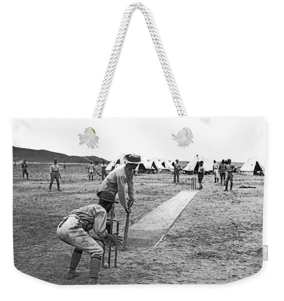 Troops Playing Cricket Weekender Tote Bag