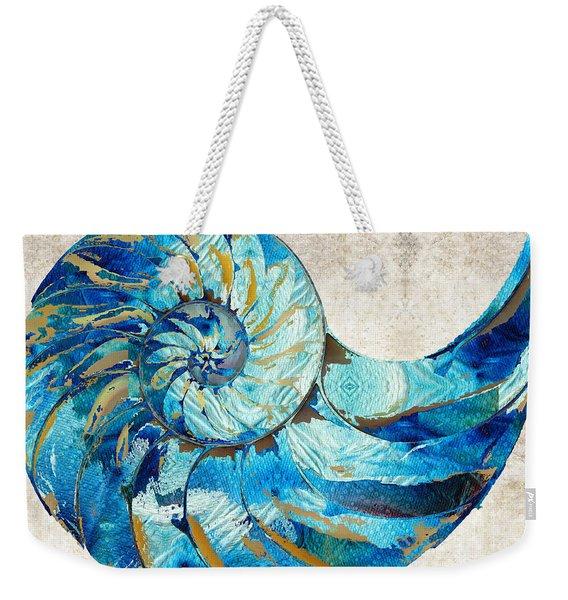 Tropical Blue Art - Nautilus Shell Bleu 2 - Sharon Cummings Weekender Tote Bag