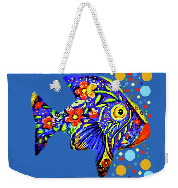 Weekender Tote Bag featuring the digital art  Tropical Fish by Eleni Mac Synodinos