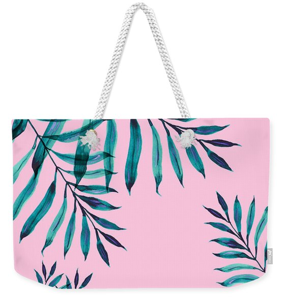 Tropical Greenery On Pink Weekender Tote Bag