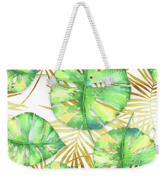 Tropical Haze Blanche Variegated Monstera Leaves, Golden Palm Fronds On Black Weekender Tote Bag