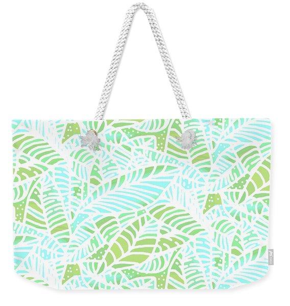 Tropical Lagoon Leaves Weekender Tote Bag