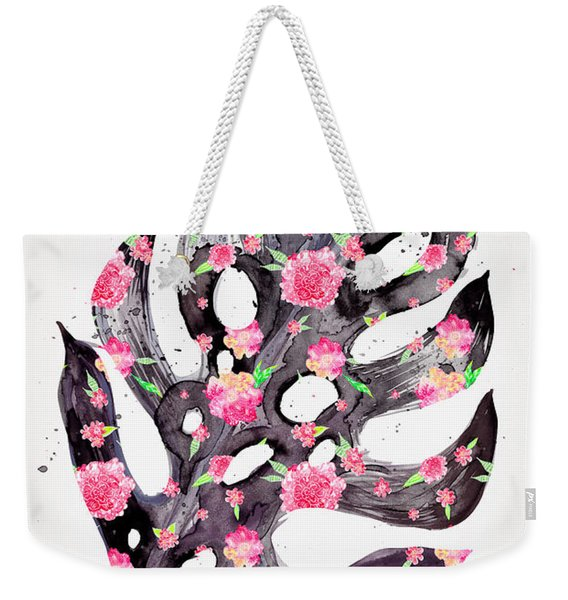 Tropical Leaf - Philodendron Black Pink Weekender Tote Bag