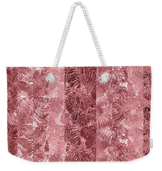 Tropical Leaf Stripes Dusty Cedar Weekender Tote Bag