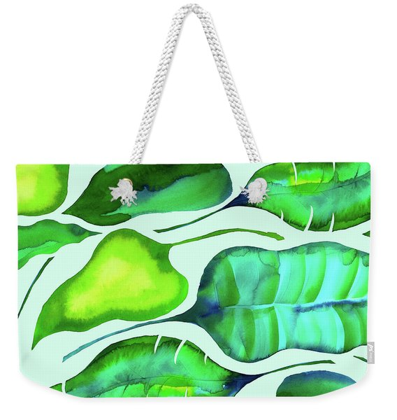 Tropical Leaves Weekender Tote Bag