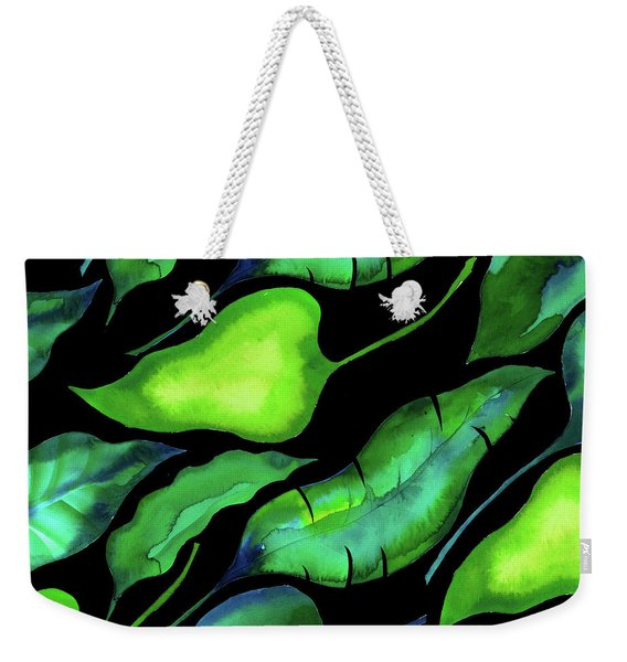 Tropical Leaves, Dark Weekender Tote Bag