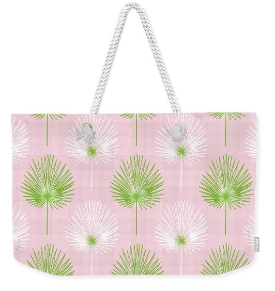 Tropical Leaves On Pink 2- Art By Linda Woods Weekender Tote Bag