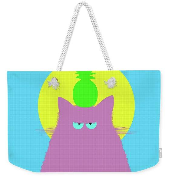 Tropical Lilac Cat Weekender Tote Bag