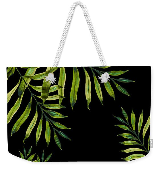 Tropical Night - Greenery On Black Weekender Tote Bag