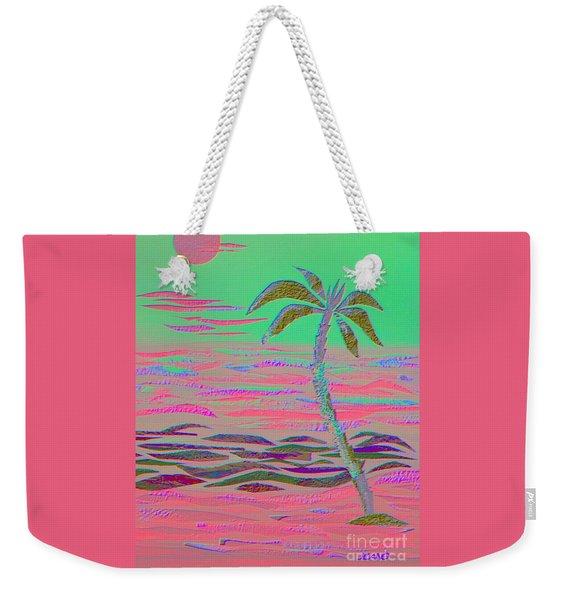 Hot Pink Coconut Palm Weekender Tote Bag