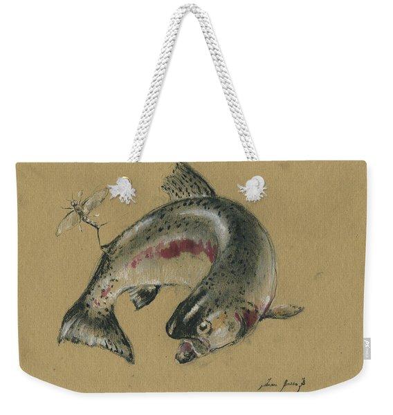 Trout Eating Weekender Tote Bag