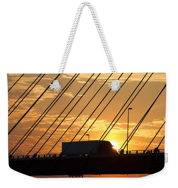 Truck Crossing The Mississippi River Weekender Tote Bag