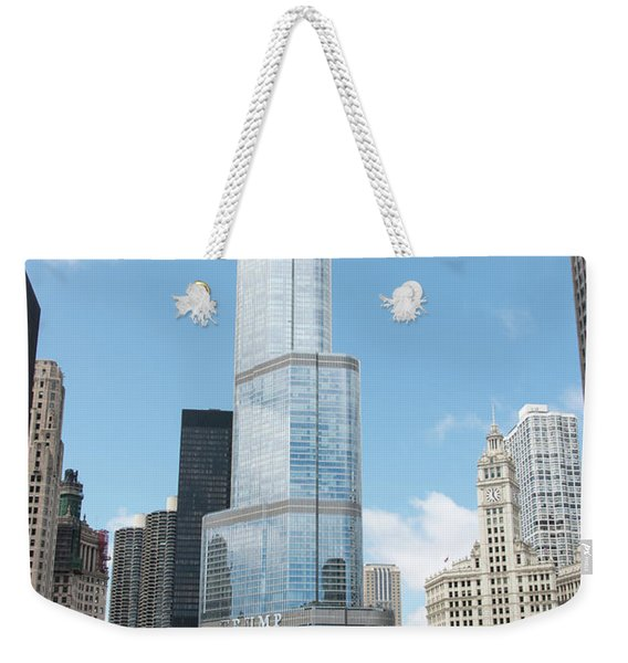 Trump Tower Overlooking The Chicago River Weekender Tote Bag