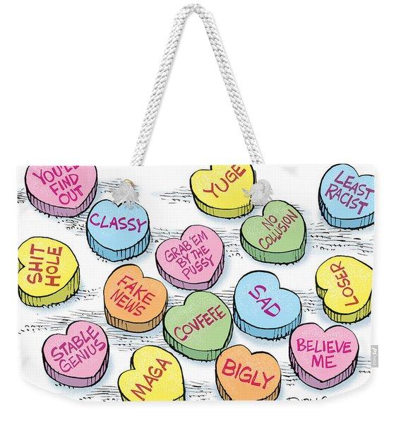 Trump Valentines Candy Uncensored Weekender Tote Bag