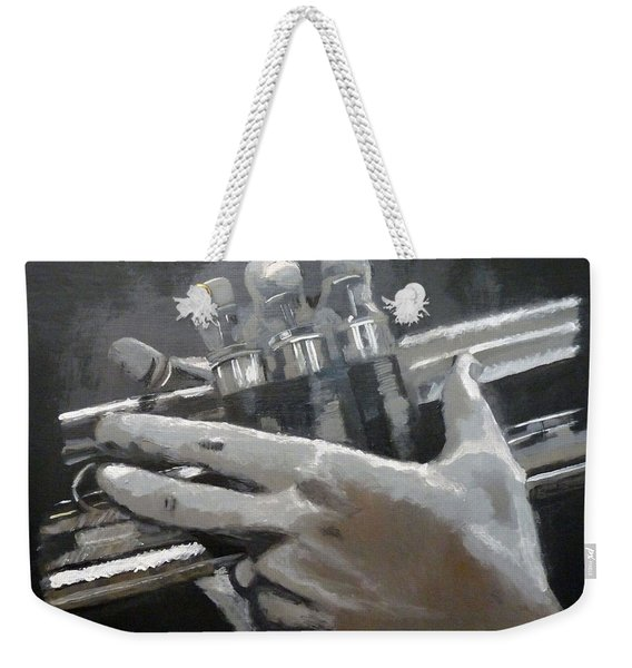 Weekender Tote Bag featuring the painting Trumpet Hands by Richard Le Page